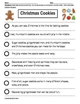 Paragraph Cut & Paste: Christmas Cookies