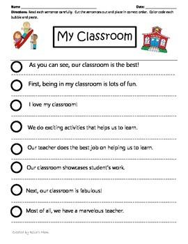 Paragraph Cut & Paste: My Classroom