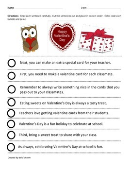 Paragraph Cut & Paste: Valentine's Day