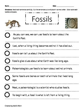 Paragraph Cut & Paste on Fossils
