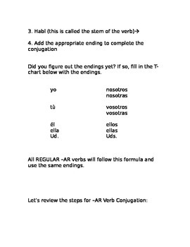Step by Step Conjugation of AR Verbs