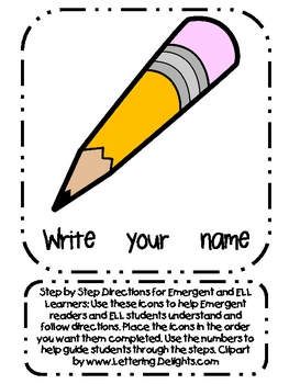 Step by Step Directions Icons for Emergent and ELL Readers