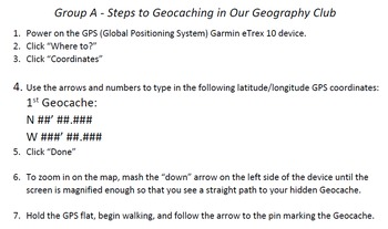 Step by Step Geocaching Template for Students