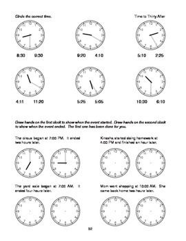 Step-by-Step Math: Telling Time (Part 4 - :30 and :35)