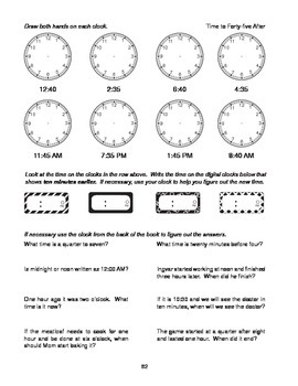 Step-by-Step Math: Telling Time (Part 5 - :40 and :45)