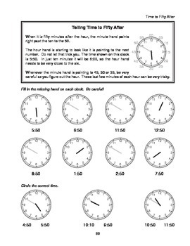 Step-by-Step Math: Telling Time (Part 6 - :50 and :55)