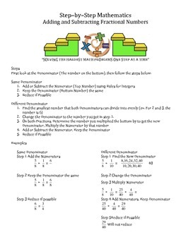 Step by Step Mathematics - Adding and Subtracting Fractional Numbers
