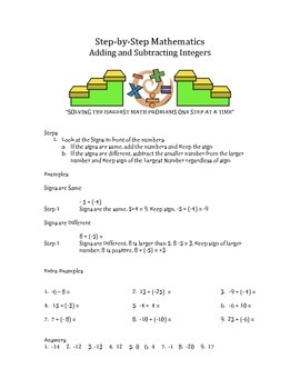 Step by Step Mathematics - Adding and Subtracting Integers