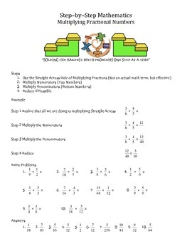 Step by Step Mathematics - Mutiplying Fractional Numbers