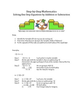 Step by Step Mathematics - Solving One Step Equations by Addition or Subtraction