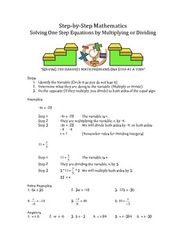 Step by Step Mathematics - Solving One Step Equations by Multiplying or Dividing