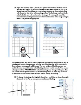 Step-by-Step Microsoft Word Table Tools Assignment - Calendar