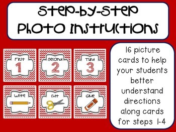 Step-by-Step Picture Directions - Red Chevron