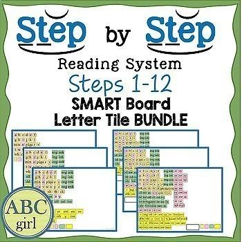 Reading System Steps 1-12 SMARTboard Letter Tile BUNDLE