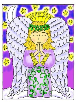 Step-by-step Art Lesson.  Angel with Irish Blessing