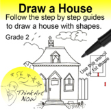 Art Lesson - Step by step Draw a House Think Art Now