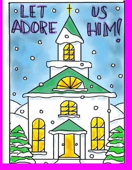 Step by step art lesson - Church scene in winter.