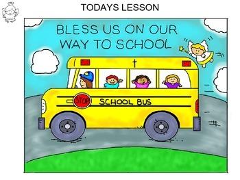 Step-by-step art lesson featuring a school bus scene - faith based.