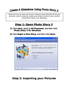 Step by step directions and illustrations on how to use Photo Story