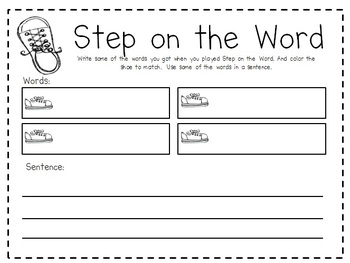 Step on the Word, Pre-Primer Dolch List Sight Word Game