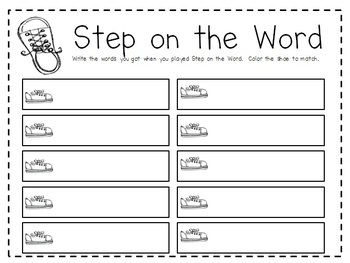 Step on the Word, Primer Dolch List Sight Word Game