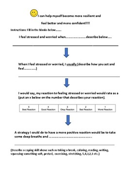Step sheet to help students become resilient grades 1-5