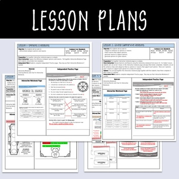 Step up to Writing Lessons with Interactive Notebook - Opinion / Persuasive