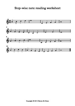 Step-wise note reading worksheet for treble clef