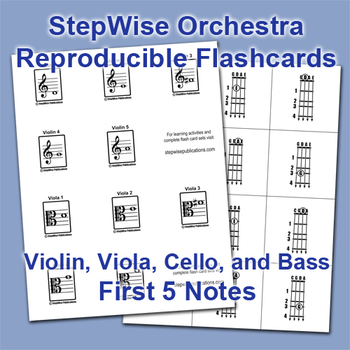 stepwise orchestra violin viola cello bass free flash cards