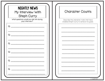 Steph Curry Biography Research Project, Mini Book, Quote Posters, Writing Prompt