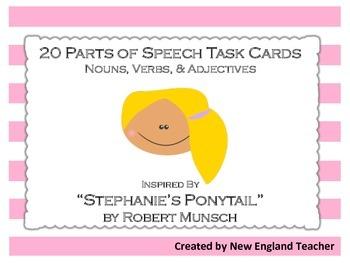 Stephanie's Ponytail Theme Parts of Speech Grammar Task Cards: Set of 20