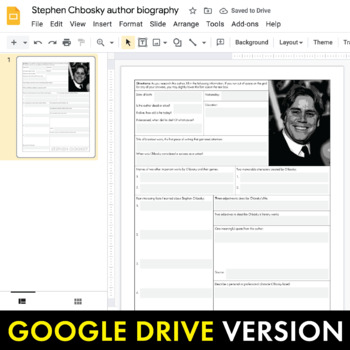 Stephen Chbosky Author Study Worksheet, Easy Chbosky Biography Activity, CCSS