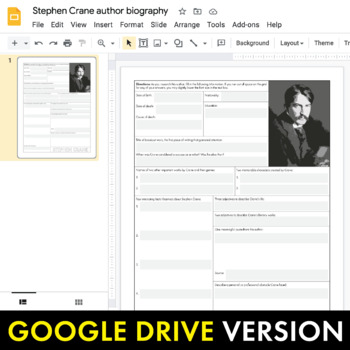 Stephen Crane Author Study Worksheet, Author Bio, Easy Biography Activity, CCSS