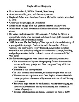 Stephen Crane: Biography (Typed Notes)