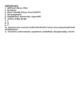Stephen Curry NBA Reading Comprehension Worksheet with Answer Key