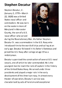 Stephen Decatur Handout