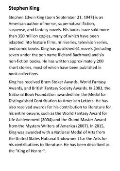 Stephen Edwin King Handout