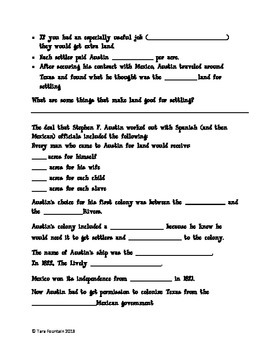 Stephen F. Austin and the Empresarios Note Page- goes with power point