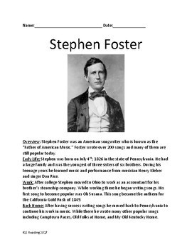 Stephen Foster - Father of American Music life history lesson facts review