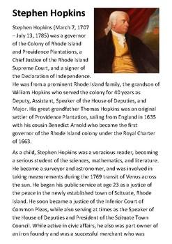 Stephen Hopkins Handout