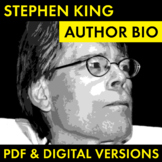 Stephen King Author Study Worksheet, Easy Biography Activity, CCSS