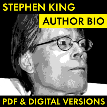 Stephen King Author Study Worksheet, Easy Stephen King Biography Activity, CCSS