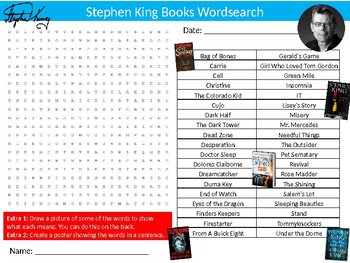 Stephen King Books Wordsearch Puzzle Sheet Keywords Author Literature Novels