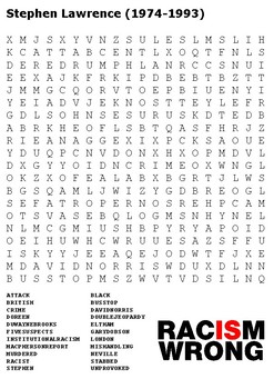 Stephen Lawrence Word Search