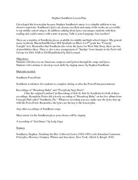 Stephen Sondheim Lyrics Lesson Plan
