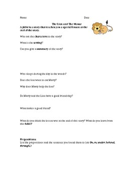 Stepping Into English The Lion & The Mouse Worksheet