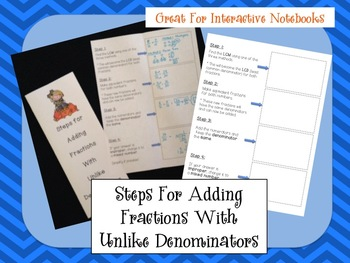 Steps For Adding Fractions With Unlike Denominators