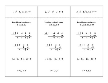 Steps In Solving Polynomial Equations