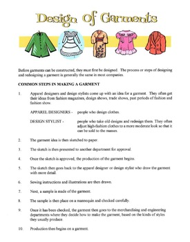 Steps In The Design Of A Garment Lesson