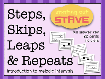 Steps, Skips, Leaps, Repeat Stave Flashcards